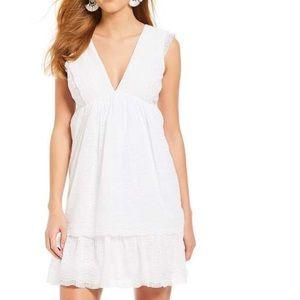 Gianni Bini White Lila Tiered Eyelet Lace Dress